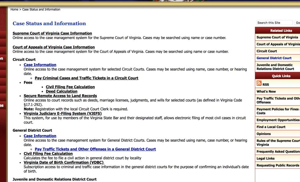 Virginia Court Case Information Page