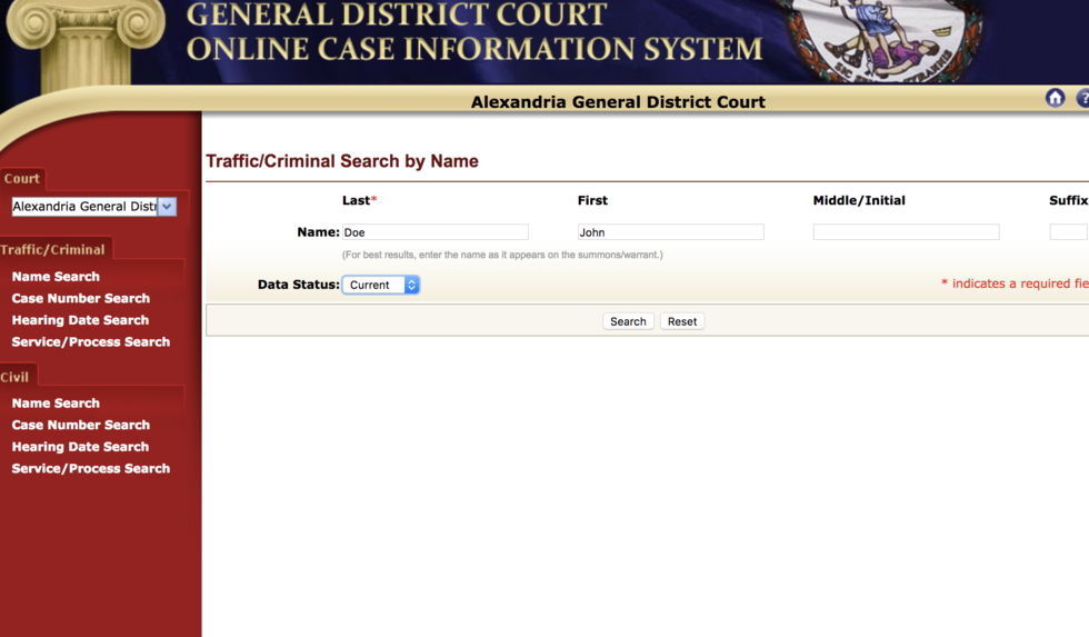 Name search after selecting the Virginia Court's Jurisdiction your case is in.