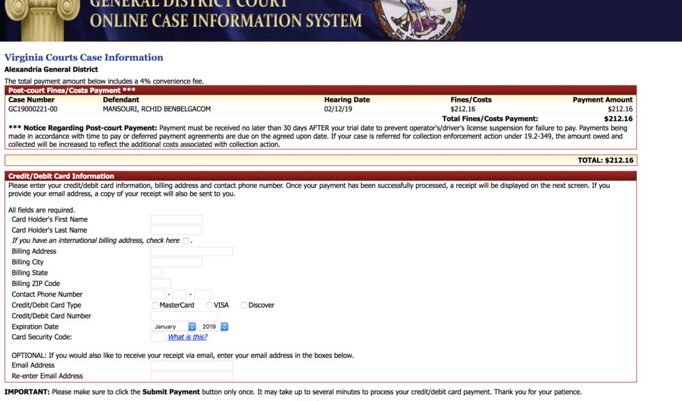 Page for credit card information when you submit a payment online for a Virginia traffic or criminal offense.