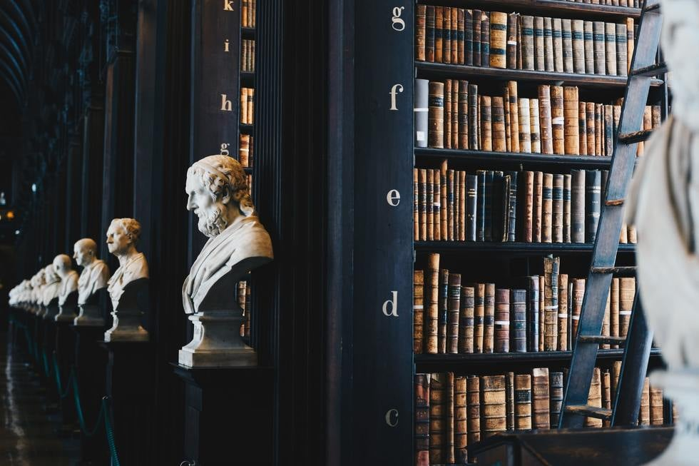 Dark library with sculpted busts to left of bookshelves