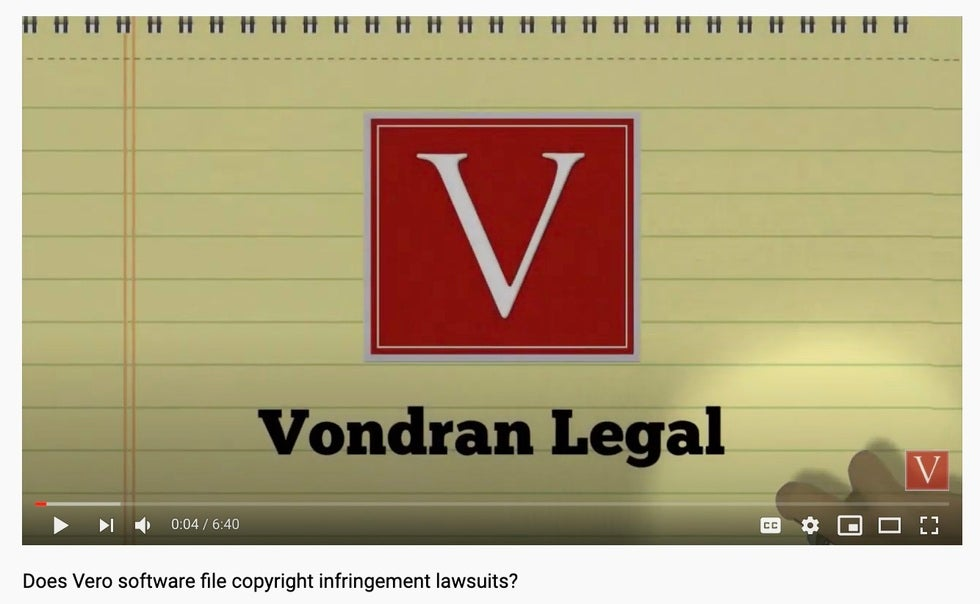 Vero software piracy demand letter and settlement