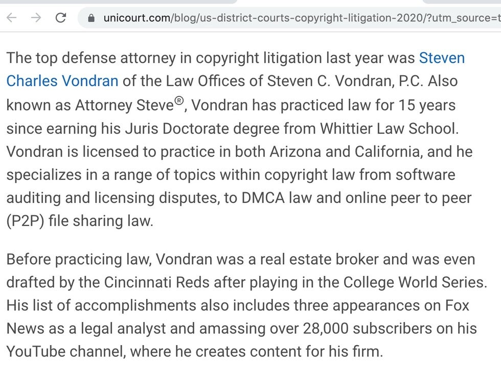 Top copyright defense lawyer in the United States