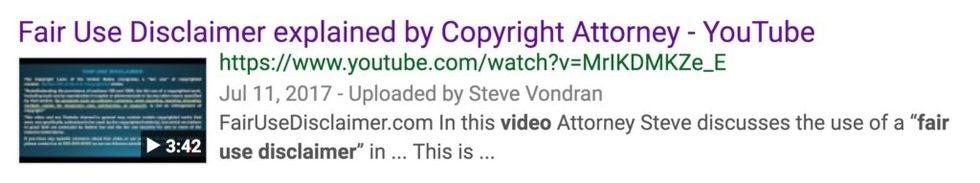 Fair use disclaimer for YouTube Creators