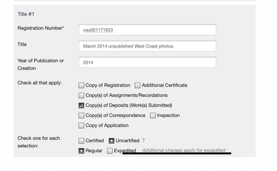 how to request photo records from copyright office