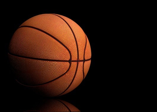 basketball over black