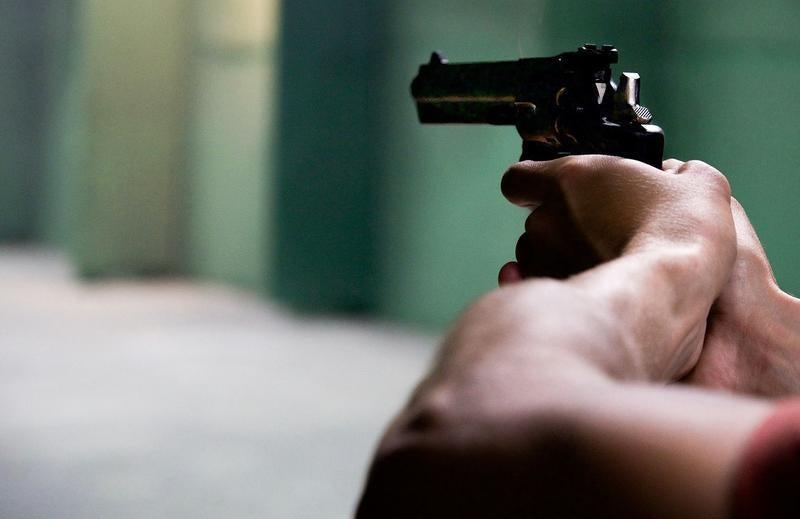 firearm in ready position