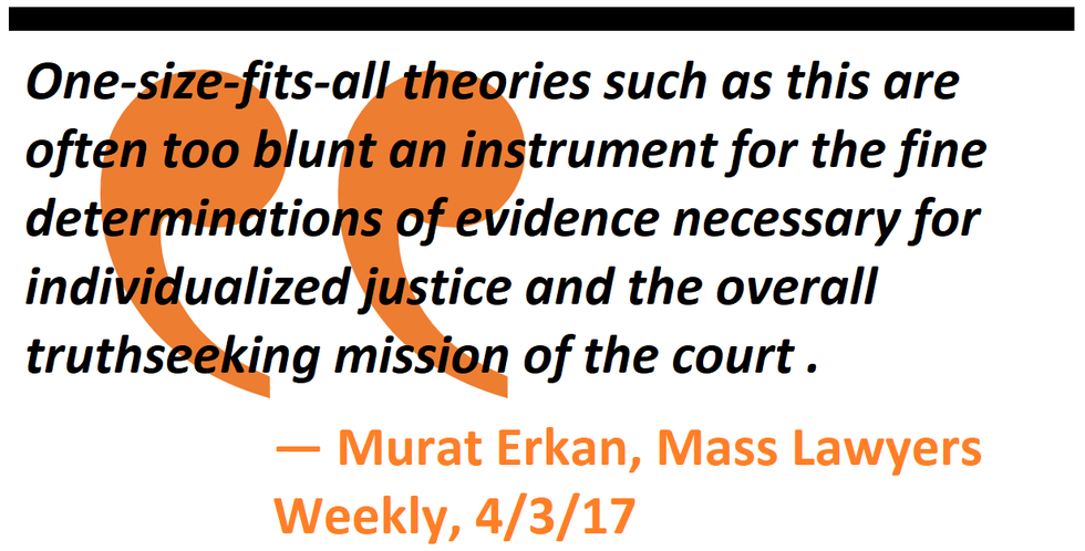 One-size-fits-all theories such as this are often too blunt an instrument for the fine determinations of evidence necessary for individualized justice and the overall truth-seeking mission of the court.