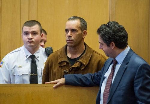 Attorney Erkan at arraignment in first degree murder case