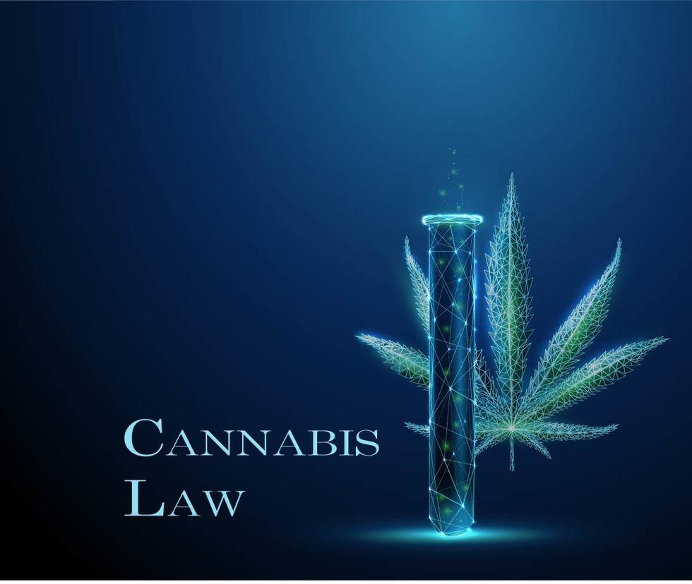 Cannabis Law stated on blue background with cigar tube and marijuana cannabis leaf CBD HEMP