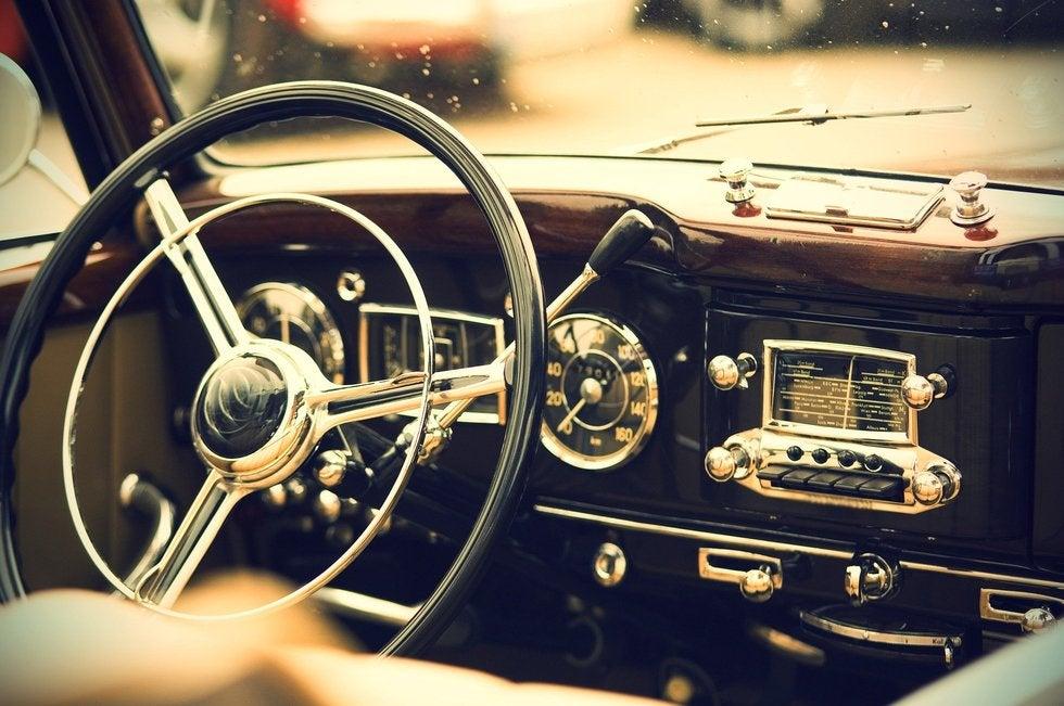 Interior of old automotive steering wheel