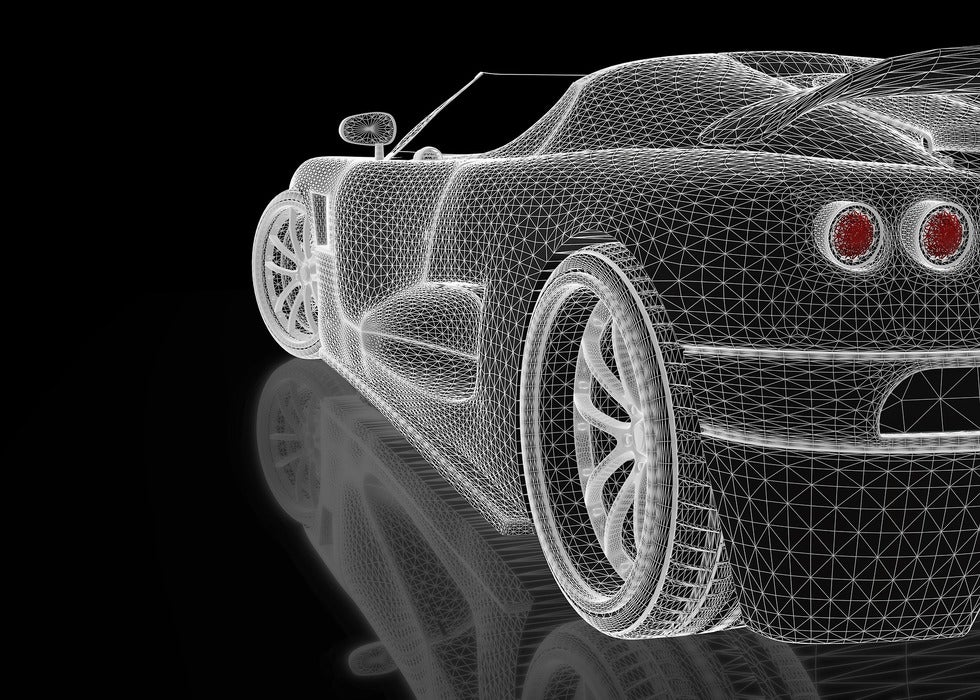 3D CAD rendition of automotive sports vehicle in white coloring on black background for startups