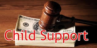 """Image of money with gavel and words """"child support"""""""