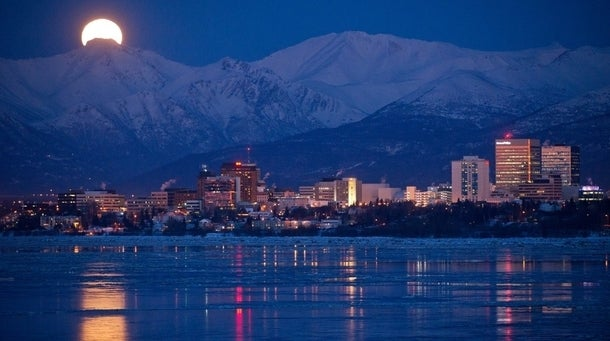 Anchorage Alaska Images at Night