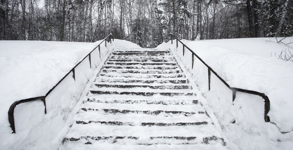 Slip, trip and fall lawyers in Anchorage Alaska on snowy and icy stairs
