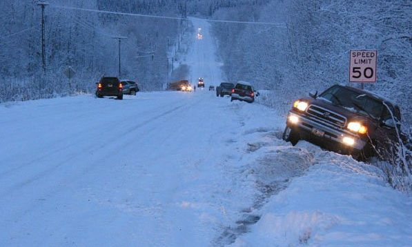 Car accident in Alaska with snow and car crashes