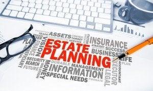 estate planning word cloud on office scene
