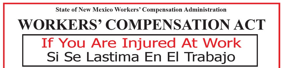 Topline of Workers' Compensation Act Poster required to be displayed in businesses.