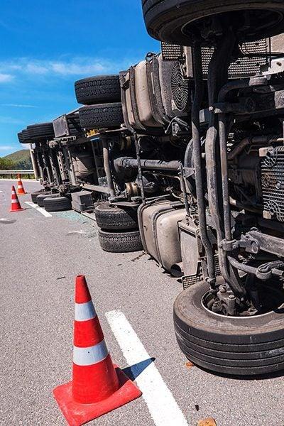 truck flipped over on highway edmond ok