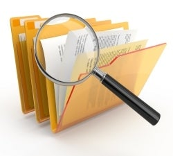 file with magnifying glass