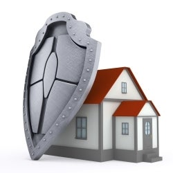 house with shield
