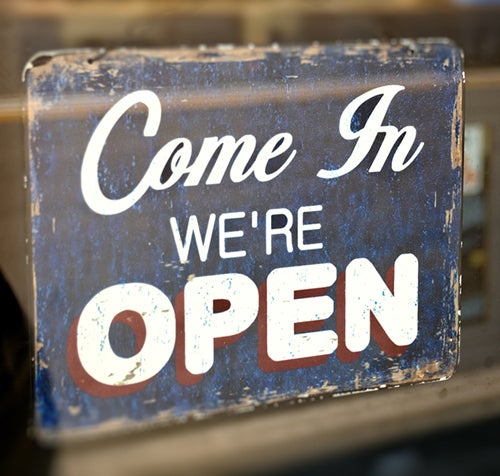 open business sign
