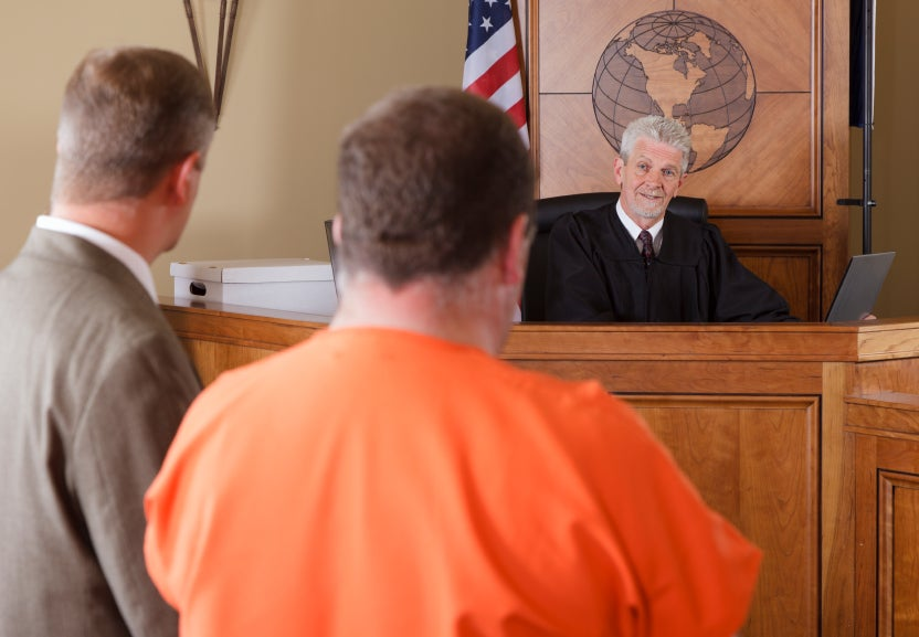 man in front of judge