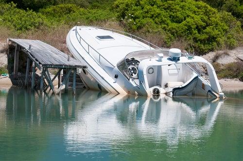 crashed boat
