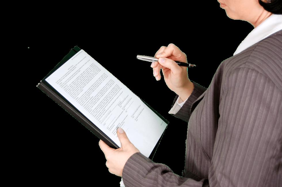 Person with checklist