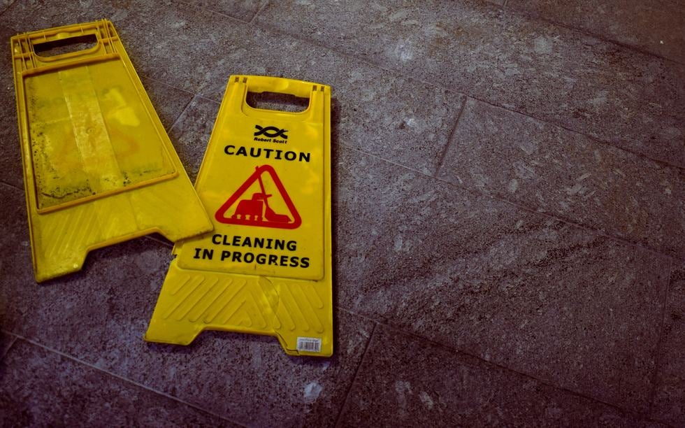 caution sign on the ground