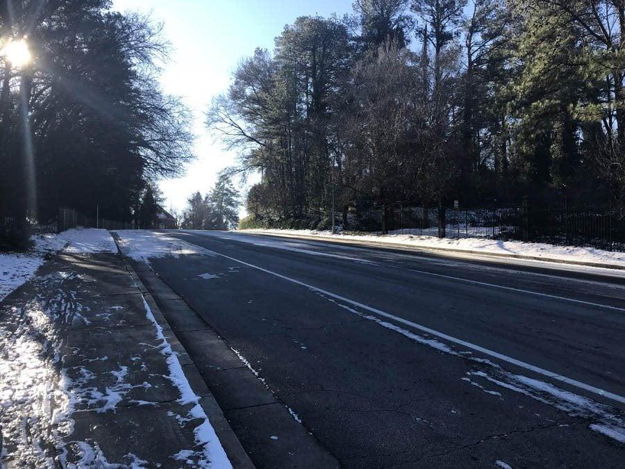 Snowy Atlanta road in January 2018