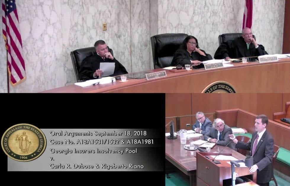 John Hadden participating in Oral Argument at the Georgia Court of Appeals
