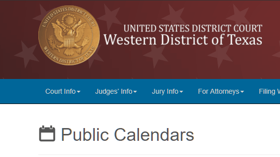 Link to Western District of Texas Judges' Calendars