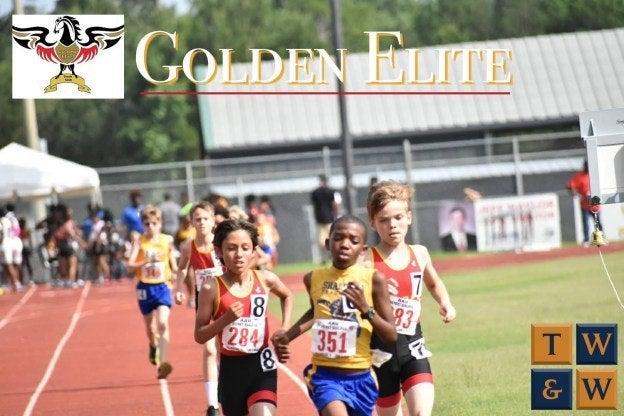 Golden elite track and field team sponsored by Taylor, Warren & Weidner