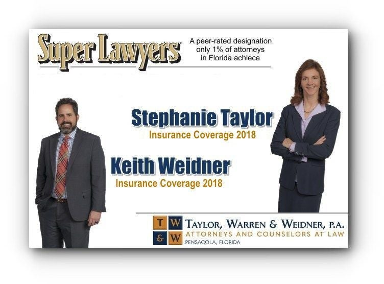 Stephanie Taylor and Keith Weidner designated at Super Lawyers in Insurance Coverage for 2018 in Florida