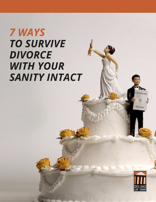 Woman and man figures standing on wedding cake. Man holding certificate of divorce.