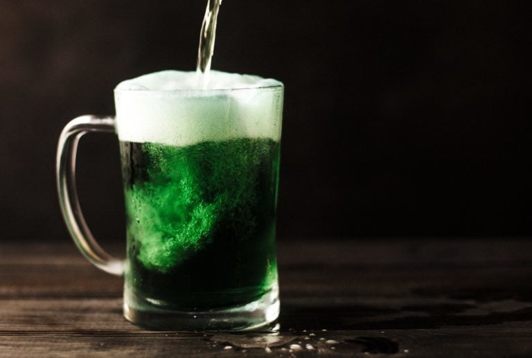 Festive green alcohol for St. Patrick's Day
