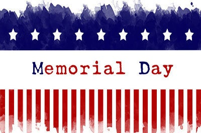 American flag themed image that says Memorial Day