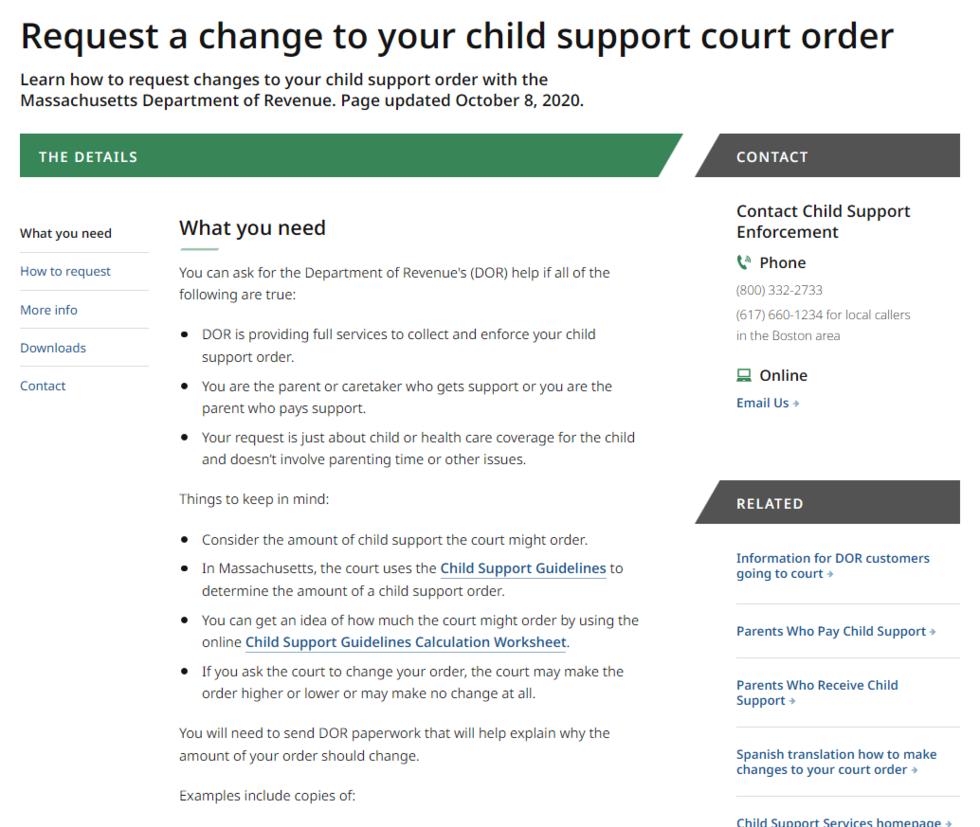 a screenshot of the DOR child support website